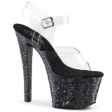 Sort 18 cm SKY-308LG glitter plateau high heels sko