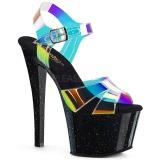 Sort 18 cm SKY-320MMR glitter plateau high heels sko