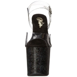 Sort 19 cm TABOO-708MG glitter plateau high heels sko