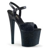 Sort 19 cm TABOO-709MMG glitter plateau high heels sko