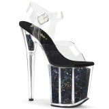 Sort 20 cm FLAMINGO-808GF glitter plateau high heels sko