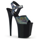 Sort 20 cm FLAMINGO-808N-CK Hologram plateau high heels sko