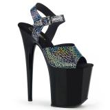 Sort 20 cm FLAMINGO-808N-CK Hologram plateau high heels sko
