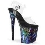Sort 20 cm FLAMINGO-808SPLA-1 Hologram plateau high heels sko