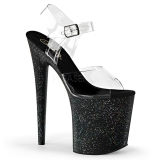 Sort 20 cm Pleaser FLAMINGO-808MG glitter plateau high heels sko