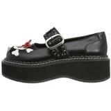 Sort 5 cm EMILY-221 lolita sko gothic dame plateausko med tykke såler