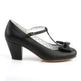Sort 6,5 cm retro vintage WIGGLE-50 Pinup pumps sko med blokhæl