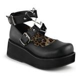 Sort 6 cm SPRITE-02 lolita sko gothic plateausko med tykke såler