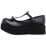 Sort 6 cm SPRITE-03 lolita sko gothic plateausko med tykke såler