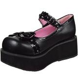 Sort 6 cm SPRITE-04 lolita sko gothic plateausko med tykke såler