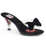 Sort 7,5 cm BELLE-301BOW Pinup mules sko med sløjfe