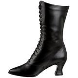 Sort 7 cm VICTORIAN-120 Dame Ankel Støvler med Snørebånd