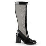 Sort 8,5 cm GOGO-307 grid støvler til damer med høj hæl