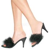Sort 8 cm AMOUR-03 Marabou fjer Høje Slip in sko