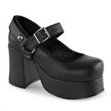 Sort 9,5 cm ABBEY-02 lolita sko gothic plateausko med tykke såler