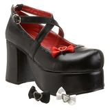 Sort 9,5 cm ABBEY-03 lolita sko gothic plateausko med tykke såler