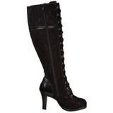 Sort 9,5 cm GLAM-240 lolita støvler til damer med høj hæl