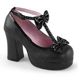 Sort 9,5 cm GOTHIKA-04 lolita sko gothic punk plateausko med tykke såler