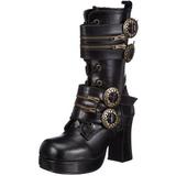 Sort 9,5 cm GOTHIKA-100 lolita ankelstøvler gothic plateau tykke såler
