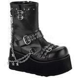 Sort 9 cm CLASH-430 lolita ankelstøvler gothic plateau tykke såler