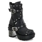 Sort 9 cm SINISTER-201 lolita ankelstøvler gothic plateau tykke såler