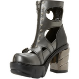 Sort 9 cm SINISTER-61 lolita ankelstøvler gothic plateau tykke såler