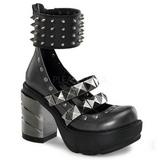 Sort 9 cm SINISTER-62 lolita sko gothic dame plateausko med tykke såler