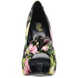 Sort Blomstret 13 cm LOLITA-11 damesko med høj hæl
