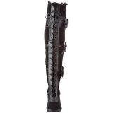 Sort Fløjl 9,5 cm GLAM-300 Højhælede Overknee Støvler