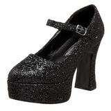 Sort Glitter 11 cm MARYJANE-50G Mary Jane Pumps Plateau