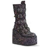 Sort Glitter 14 cm SWING-230G cyberpunk plateaustøvler