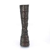 Sort Glitter 18 cm STACK-301G demonia støvler - unisex cyberpunk støvler