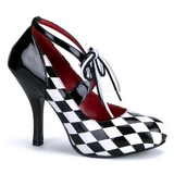 Sort Hvid 10,5 cm HARLEQUIN-03 damesko med høj hæl