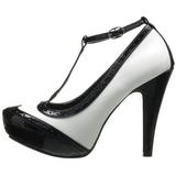Sort Hvid 11,5 cm retro vintage BETTIE-22 damesko med høj hæl