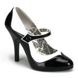 Sort Hvid 11,5 cm rockabilly TEMPT-07 damesko med høj hæl