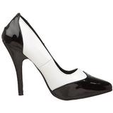 Sort Hvid 13 cm SEDUCE-425 dame pumps med lave hæl