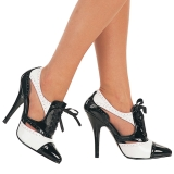Sort Hvid 13 cm SEDUCE-458 Oxford damesko med høj hæl