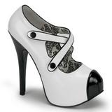 Sort Hvid 14,5 cm TEEZE-23 damesko med høj hæl