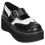 Sort Hvid 5 cm EMILY-302 lolita sko gothic dame med tykke såler