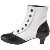 Sort Hvid 5 cm FLORA-1023 Dame Ankelstøvler