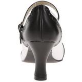 Sort Hvid 7,5 cm retro vintage FLAPPER-25 dame pumps med lave hæl