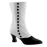 Sort Hvid 7 cm VICTORIAN-123 Dame Ankelstøvler