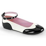 Sort Hvid STAR-22 gothic ballerina sko med flade hæle