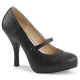Sort Kunstlæder 11,5 cm PINUP-01 store størrelser pumps sko