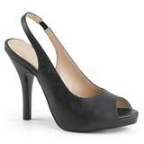 Sort Kunstlæder 12,5 cm EVE-04 store størrelser sandaler dame
