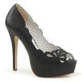 Sort Kunstlæder 13,5 cm BELLA-30 dame pumps sko med åben tå