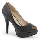 Sort Kunstlæder 13,5 cm CHLOE-01 store størrelser pumps sko