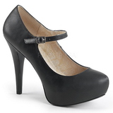 Sort Kunstlæder 13,5 cm CHLOE-02 store størrelser pumps sko