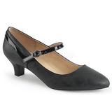 Sort Kunstlæder 5 cm FAB-425 store størrelser pumps sko