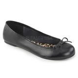 Sort Kunstlæder ANNA-01 store størrelser ballerina sko